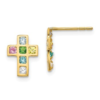 14k Madi K Multi-colored CZ Cross Post Earrings