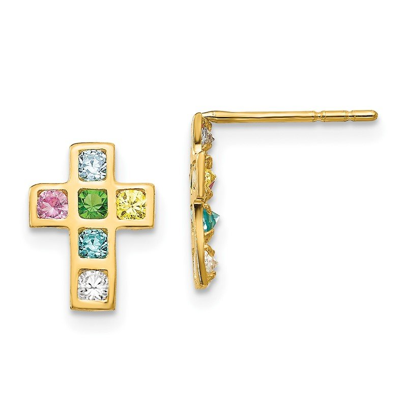 Quality Gold 14k Madi K Multi-colored CZ Cross Post Earrings