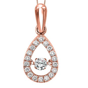 10K Rose Gold Diamond Rhythm Of Love Pendant 1/5 ctw