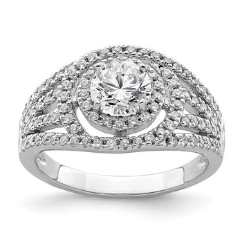 Sterling Silver Rhodium-plated Round CZ Halo Ring