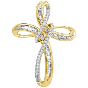 10kt Yellow Gold Womens Round Diamond Cross Religious Pendant 1/4 Cttw