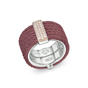 Burgundy Cable Monochrome Ring with 18kt Yellow Gold & Diamonds