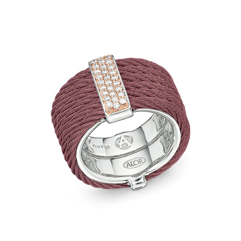 ALOR Burgundy Cable Monochrome Ring with 18kt Yellow Gold & Diamonds