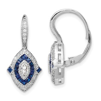 Sterling Silver Rhodium-plated CZ and Synthetic Blue Spinel Earrings