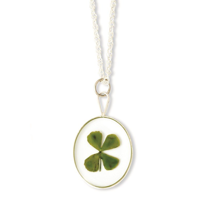Quality Gold Silver Trim Four Leaf Clover Oval w/ Silver-plated Chain