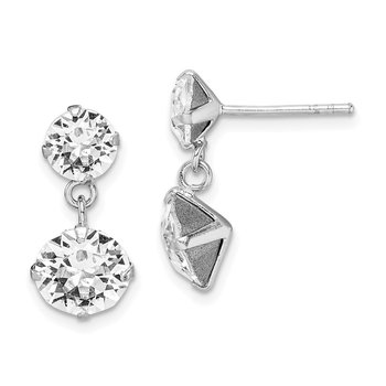 Sterling Silver Rhodium-plated Swarovski Crystal Dangle Post Earrings