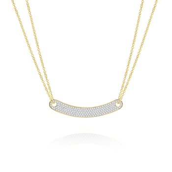 14k Gold and Diamond Modern Bar Necklace