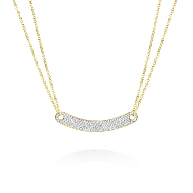 MAZZARESE Fashion 14k Gold and Diamond Modern Bar Necklace