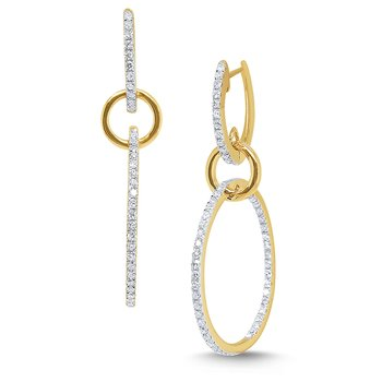 14k Gold and Diamond Link Earrings