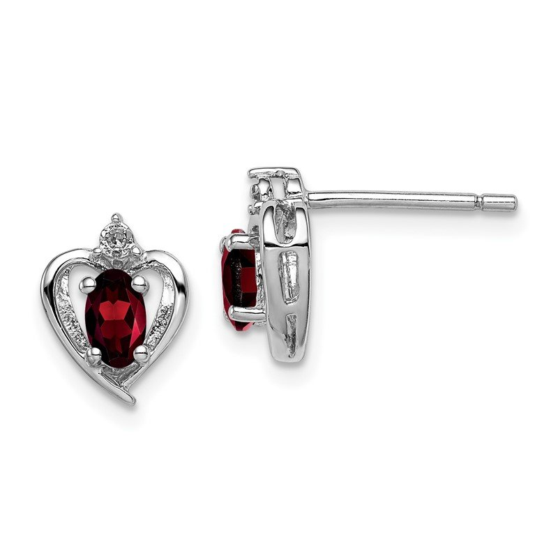Lester Martin Online Collection Sterling Silver Rhodium-plated Garnet & Diam. Earrings