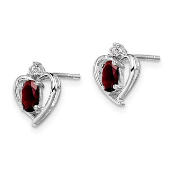 Sterling Silver Rhodium-plated Garnet & Diam. Earrings