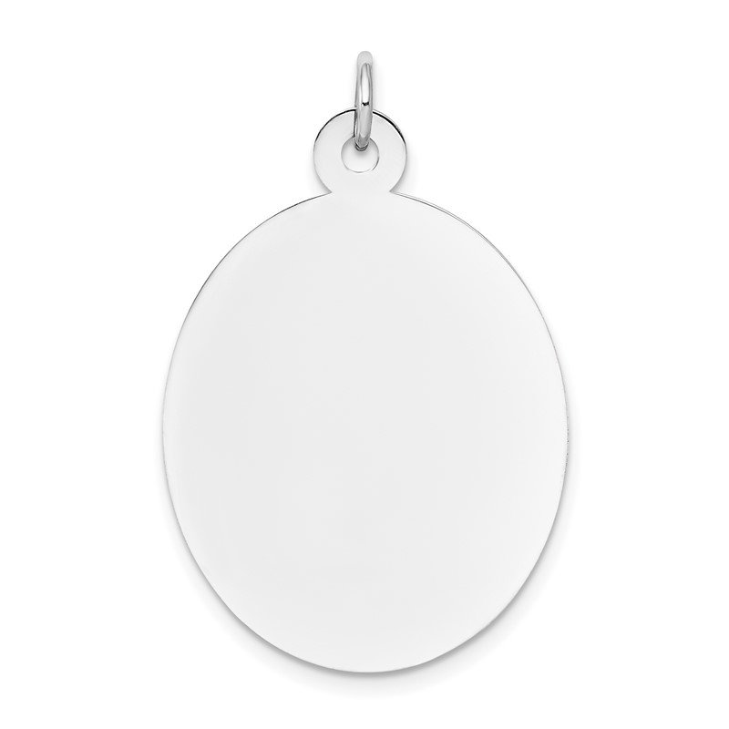 Quality Gold 14k White Gold Plain .013 Gauge Oval Engravable Disc Charm