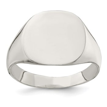 Sterling Silver 14x15mm Closed Back Signet Ring