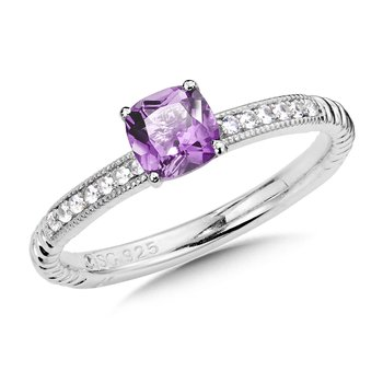 Sterling Silver Amethyst and White Sapphire Stacking Ring