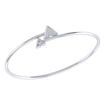 Skyscraper Roof Bangle in Sterling Silver