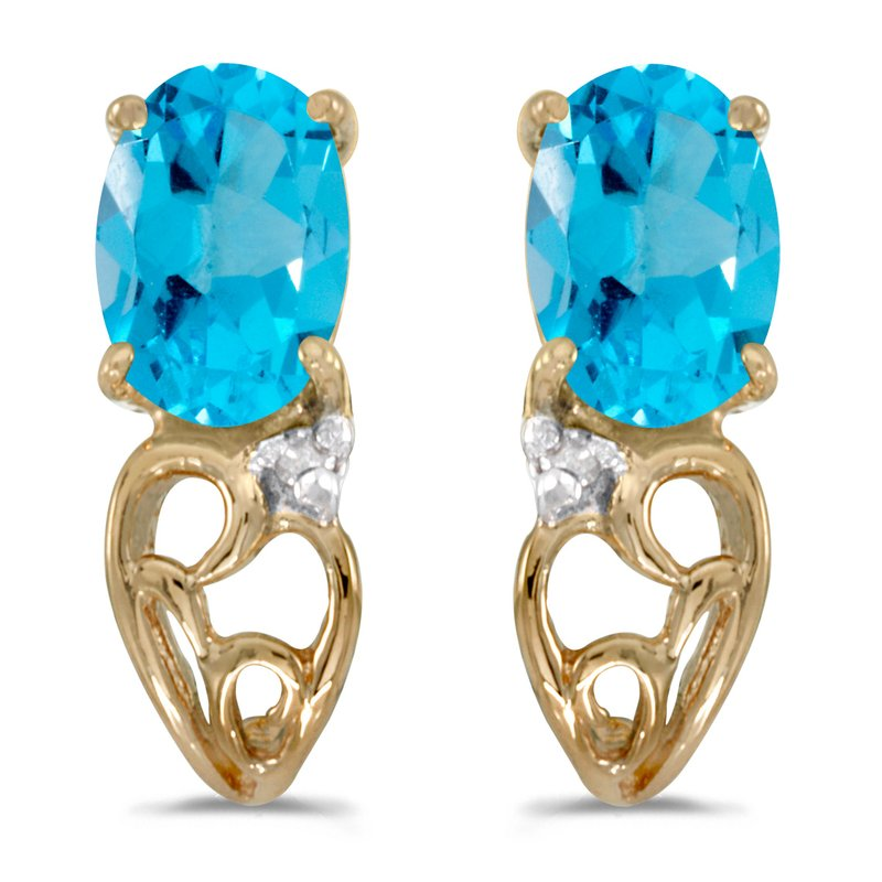 14k Yellow Gold Oval Blue Topaz And Diamond Earrings