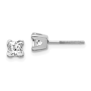 14k White Gold AA Quality Complete Princess Cut Diamond Earrings