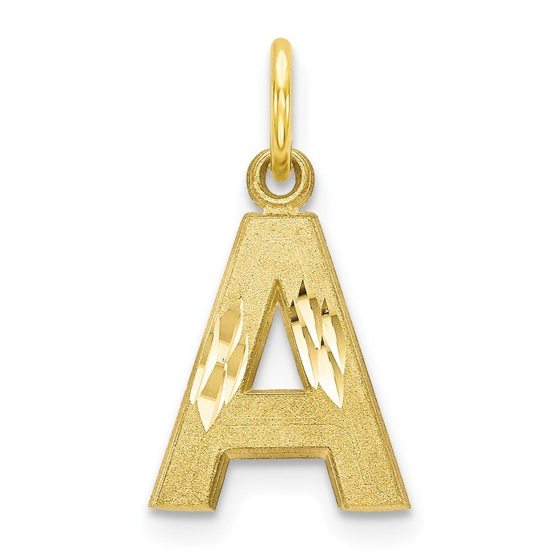 Quality Gold 10K Satin Diamond-cut Initial A Charm