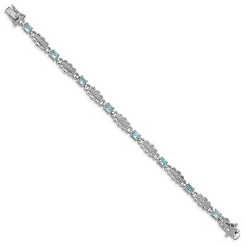 Sterling Silver Rhodium-plated Aquamarine & Diamond Bracelet
