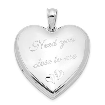 Sterling Silver Rhodium-plated Need You Close.. Ash Holder Heart Locket