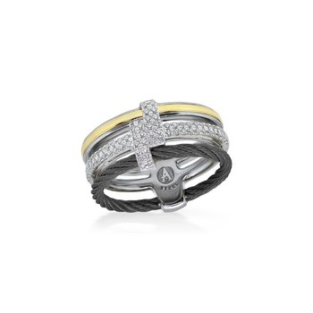 Black Cable Opulence Ring with 18kt White & Yellow Gold & Diamonds