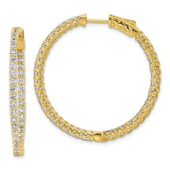 Sterling Silver Gold-tone CZ In and Out Hinged Hoop Earrings
