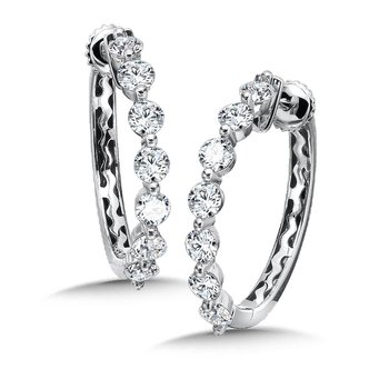 Locking Reflection Diamond Round Hoops in 14K White Gold with Platinum Post