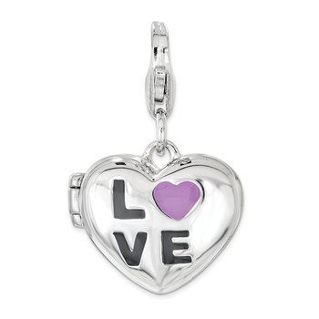 Sterling Silver Enameled LOVE Heart Locket Lobster Clasp Charm