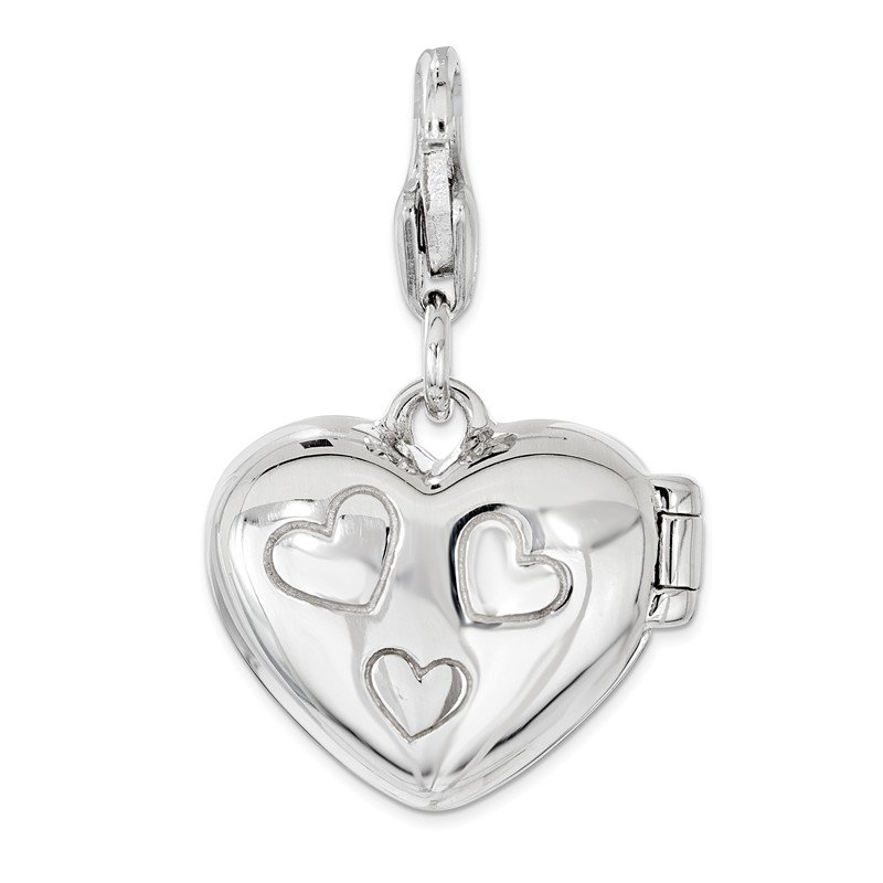 Sterling Silver Amore La Vita Rhod-pl Enameled LOVE Heart Locket Charm