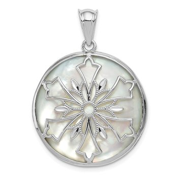 Sterling Silver Rhodium-plated D/C Onyx/Mother of Pearl Reverse Pendant