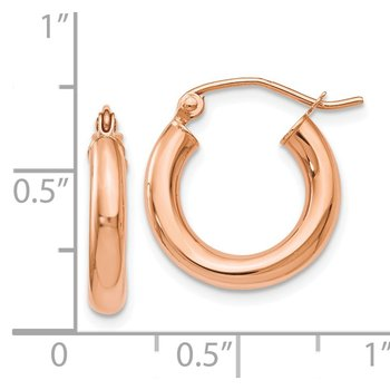 Leslie's 14K Rose Gold 3mm Polished Hoop Earrings