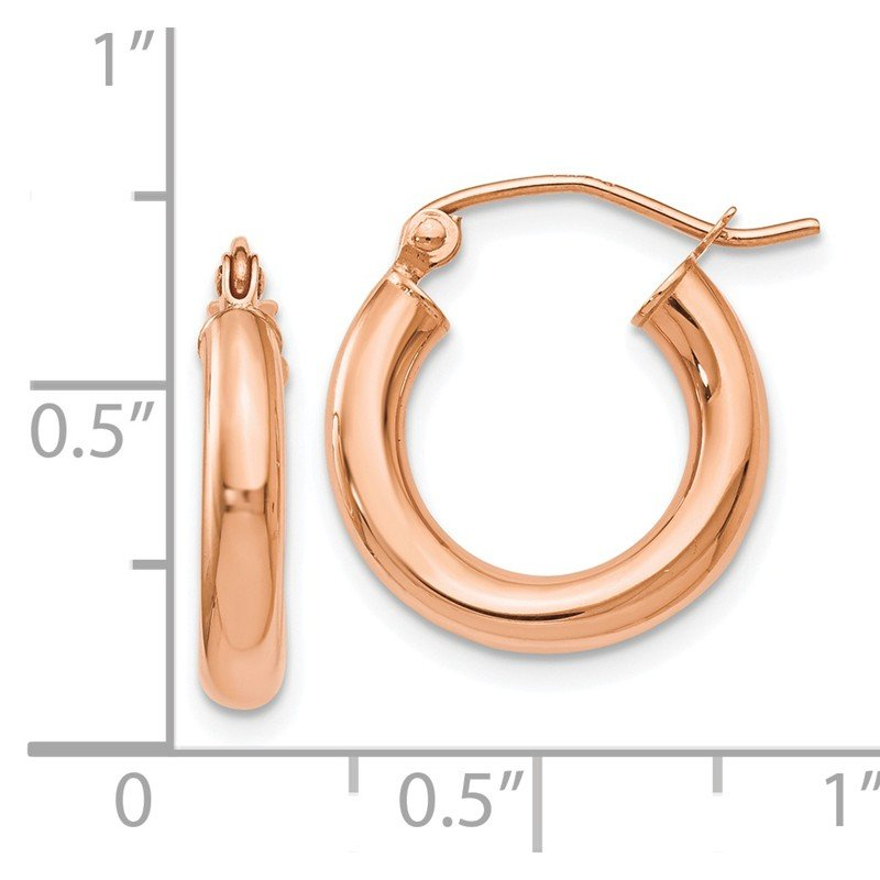 Leslie's Leslie's 14K Rose Gold 3mm Polished Hoop Earrings
