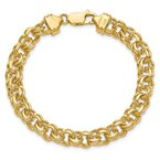 Quality Gold 14k 7in 7.5mm Solid Double Link Charm Bracelet
