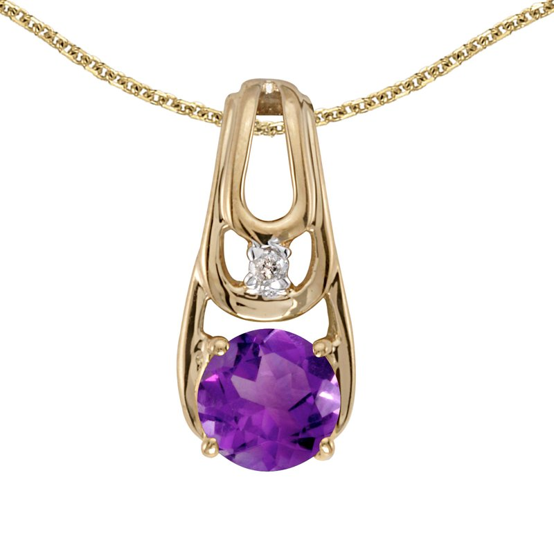Color Merchants 14k Yellow Gold Round Amethyst And Diamond Pendant