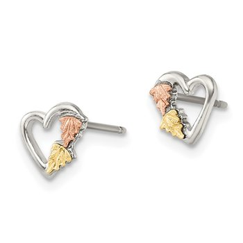 Sterling Silver & 12K Small Heart Post Earrings