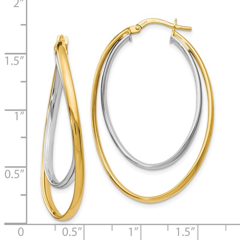 Leslie's Leslie's 14k Two tone Polished Fancy Hoop Earrings