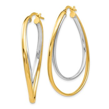 Leslie's 14K Two-tone Polished Fancy Hoop Earrings