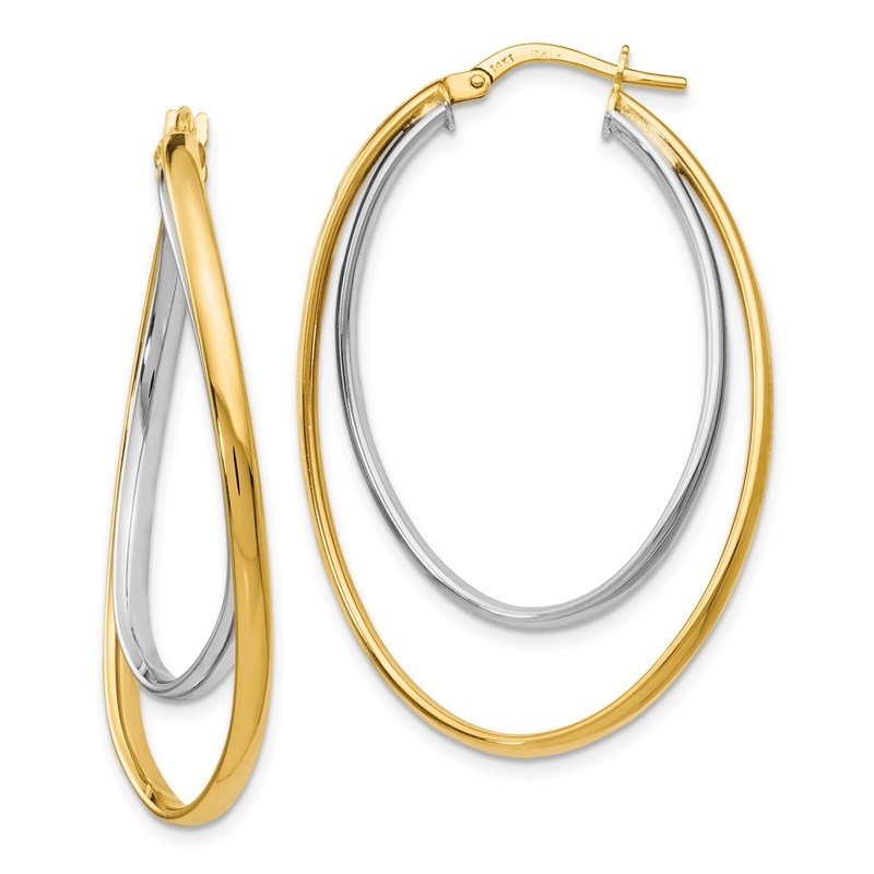 Leslie's Leslie's 14K Two-tone Polished Fancy Hoop Earrings