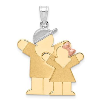 14k Tri-Color Big Boy and Little Girl Engravable Charm