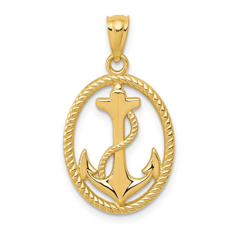Quality Gold 14k Gold Polished Anchor w/Rope Oval Pendant