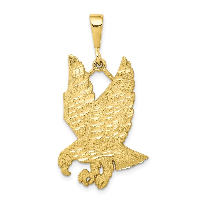 Quality Gold 10k Solid Diamond-cut Eagle Charm
