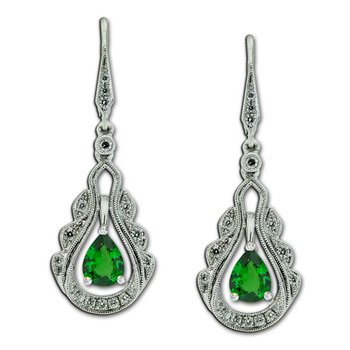 Vintage Inspired Tsavorite & Diamond Dangles