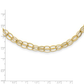14K Double Strand Oval Links w/ 2in Ext Necklace