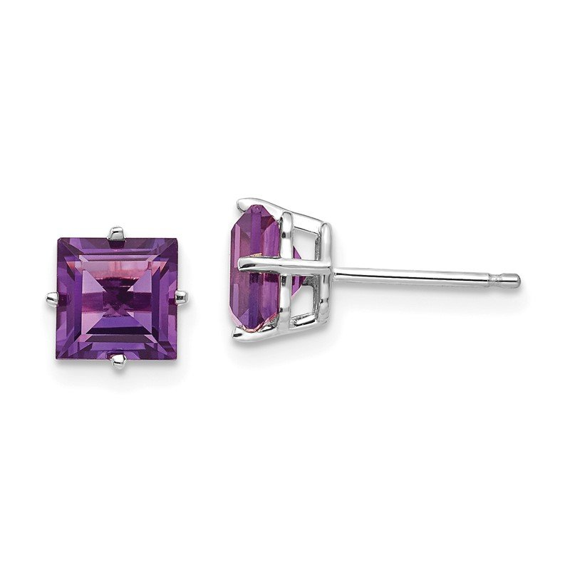 Quality Gold 14k White Gold 6mm Princess Cut Amethyst Earrings
