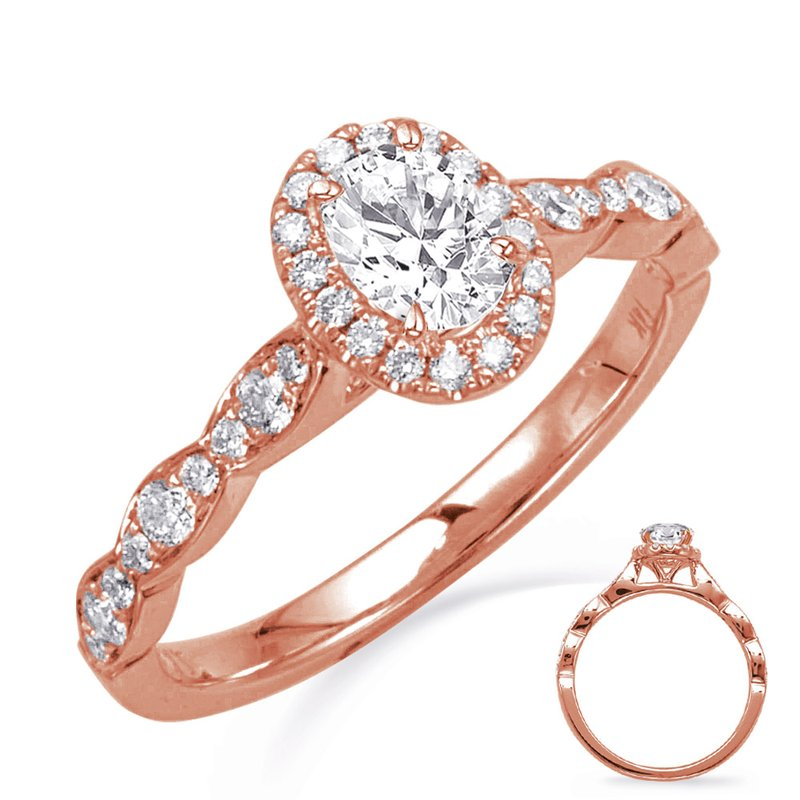 S. Kashi & Sons Bridal Rose Gold Oval Halo Engagement Ring
