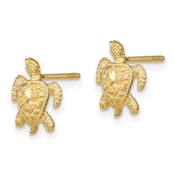 14k Polished Diamond-cut Sea Turtle Post Earrings