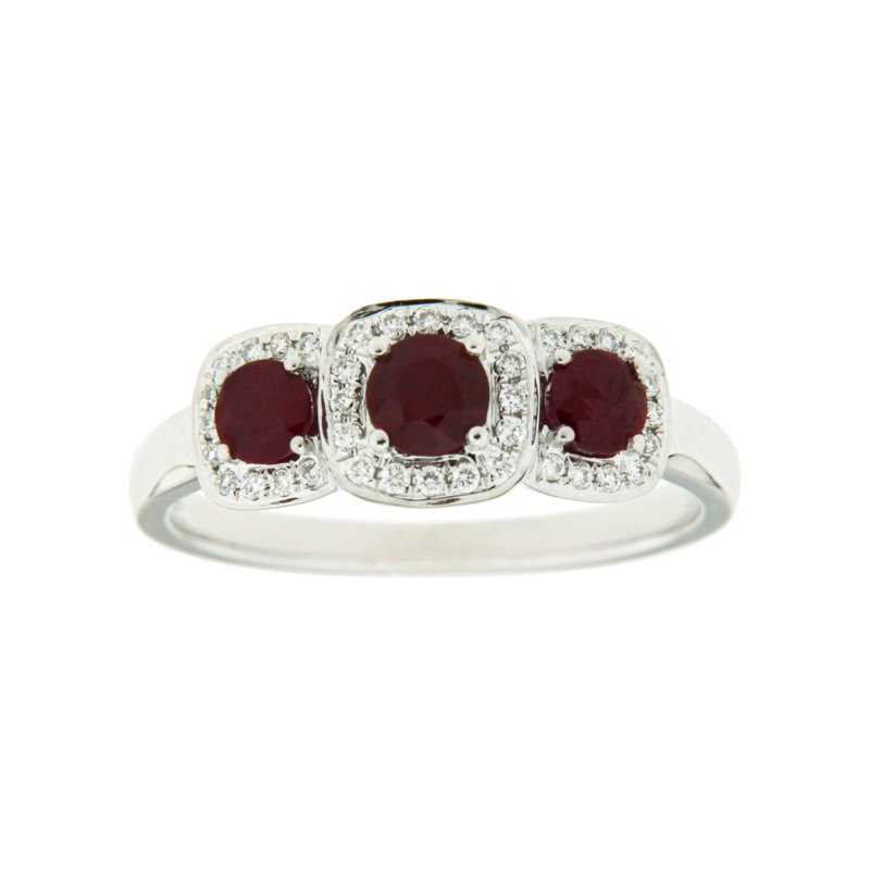 Paragon Fine Jewellery 18k White Gold Ring with Ruby & Diamond