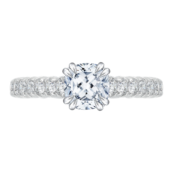 18K White Gold Cushion Diamond Cathedral Style Engagement Ring with Euro Shank (Semi-Mount)