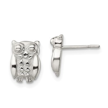 Sterling Silver Polished Owl Post Earrings