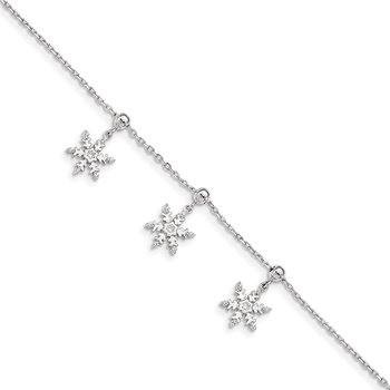 Sterling Silver Rhodium-plated CZ Snowflake Dangle 6.5 in w/1IN Ext Bracele